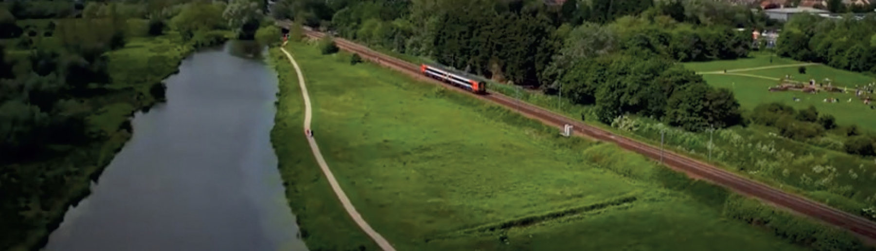 Wide shot of Ely area train line